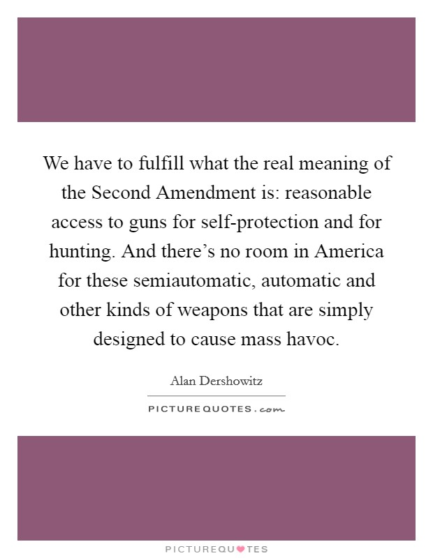 We have to fulfill what the real meaning of the Second Amendment is: reasonable access to guns for self-protection and for hunting. And there's no room in America for these semiautomatic, automatic and other kinds of weapons that are simply designed to cause mass havoc Picture Quote #1
