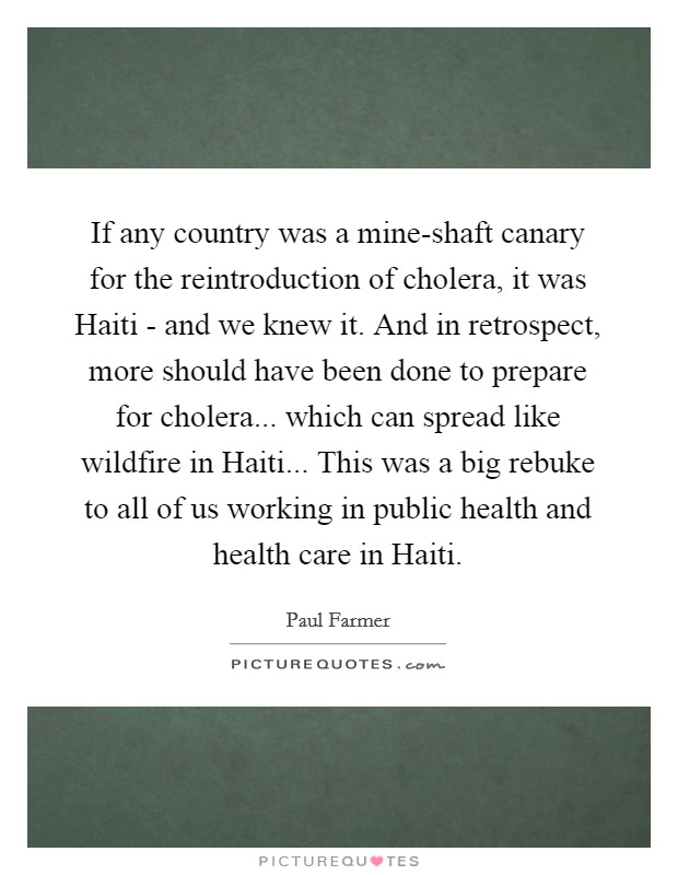 If any country was a mine-shaft canary for the reintroduction of cholera, it was Haiti - and we knew it. And in retrospect, more should have been done to prepare for cholera... which can spread like wildfire in Haiti... This was a big rebuke to all of us working in public health and health care in Haiti Picture Quote #1