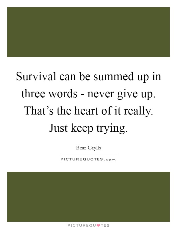 Survival can be summed up in three words - never give up. That's the heart of it really. Just keep trying Picture Quote #1