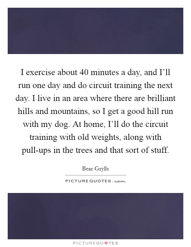 I exercise about 40 minutes a day, and I'll run one day and do circuit training the next day. I live in an area where there are brilliant hills and mountains, so I get a good hill run with my dog. At home, I'll do the circuit training with old weights, along with pull-ups in the trees and that sort of stuff Picture Quote #1