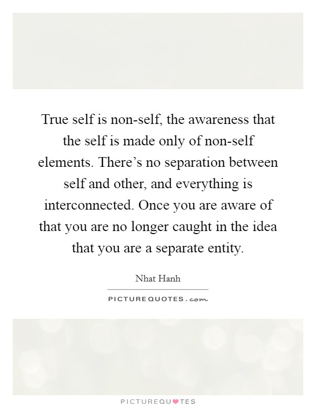 True self is non-self, the awareness that the self is made only of non-self elements. There's no separation between self and other, and everything is interconnected. Once you are aware of that you are no longer caught in the idea that you are a separate entity Picture Quote #1