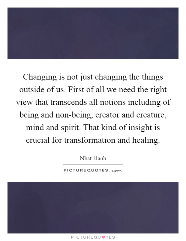 Changing is not just changing the things outside of us. First of all we need the right view that transcends all notions including of being and non-being, creator and creature, mind and spirit. That kind of insight is crucial for transformation and healing Picture Quote #1