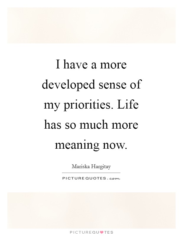 I have a more developed sense of my priorities. Life has so much more meaning now Picture Quote #1