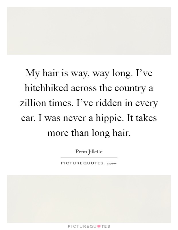 My hair is way, way long. I've hitchhiked across the country a zillion times. I've ridden in every car. I was never a hippie. It takes more than long hair Picture Quote #1