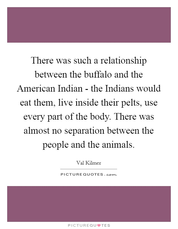 There was such a relationship between the buffalo and the American Indian - the Indians would eat them, live inside their pelts, use every part of the body. There was almost no separation between the people and the animals Picture Quote #1