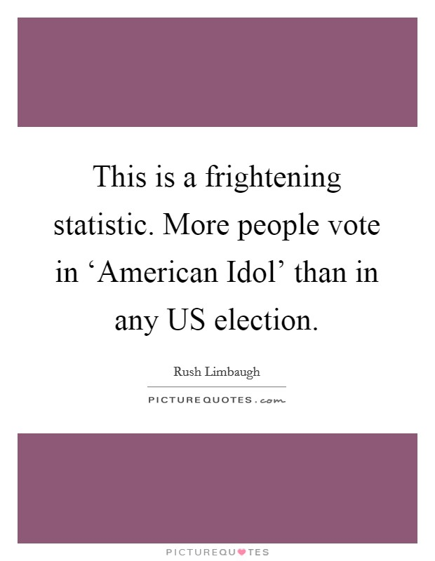 This is a frightening statistic. More people vote in 'American Idol' than in any US election Picture Quote #1