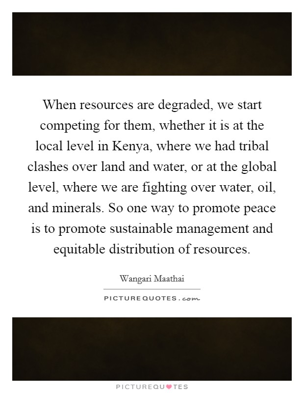 When resources are degraded, we start competing for them, whether it is at the local level in Kenya, where we had tribal clashes over land and water, or at the global level, where we are fighting over water, oil, and minerals. So one way to promote peace is to promote sustainable management and equitable distribution of resources Picture Quote #1