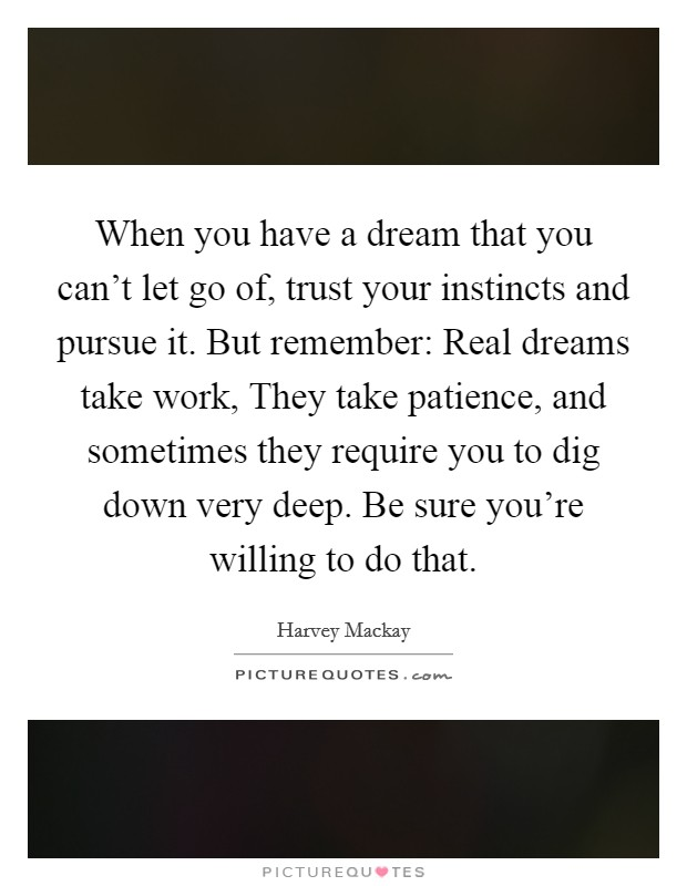 When you have a dream that you can't let go of, trust your instincts and pursue it. But remember: Real dreams take work, They take patience, and sometimes they require you to dig down very deep. Be sure you're willing to do that Picture Quote #1
