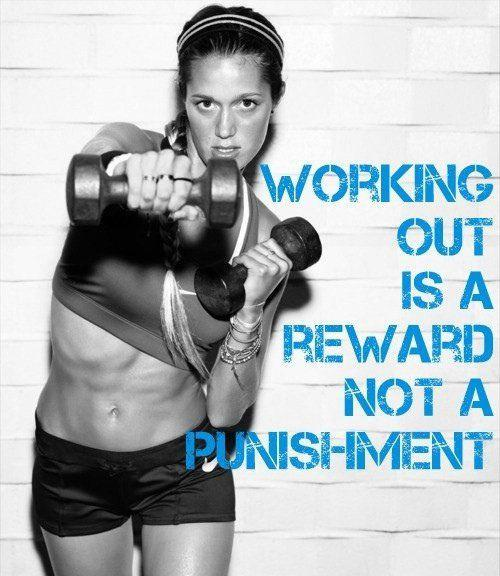 Working out is a reward not a punishment Picture Quote #1