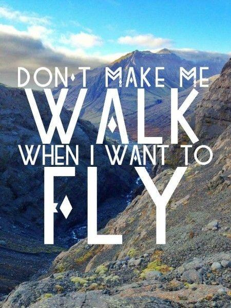 Don't make me walk when I want to fly Picture Quote #1
