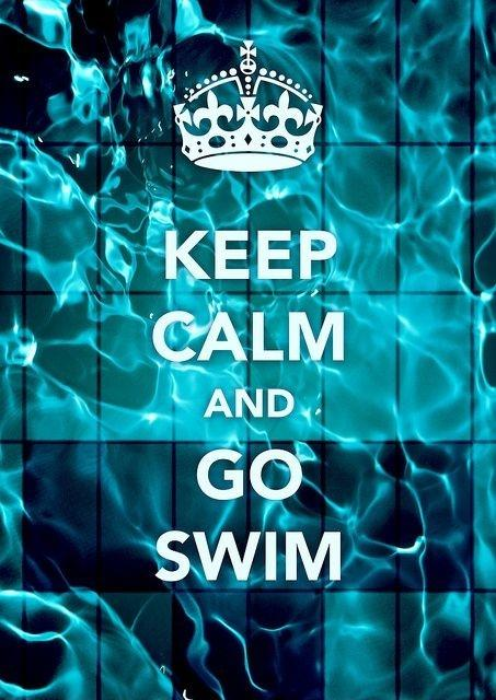 Keep calm and go swim Picture Quote #1