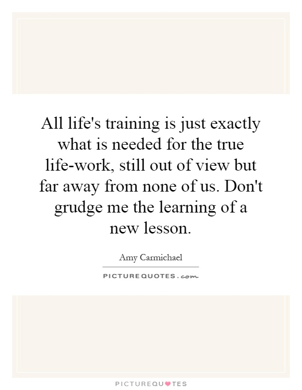 All life's training is just exactly what is needed for the true life-work, still out of view but far away from none of us. Don't grudge me the learning of a new lesson Picture Quote #1