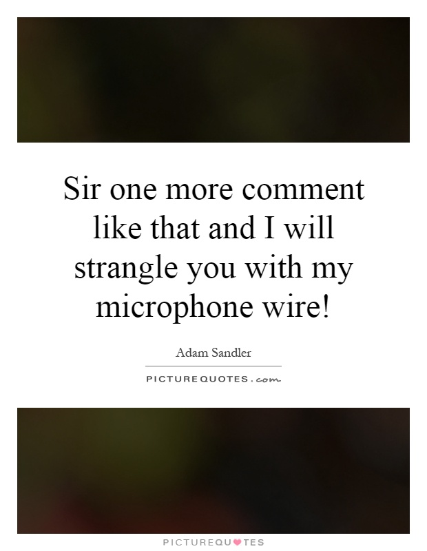 Sir one more comment like that and I will strangle you with my microphone wire! Picture Quote #1