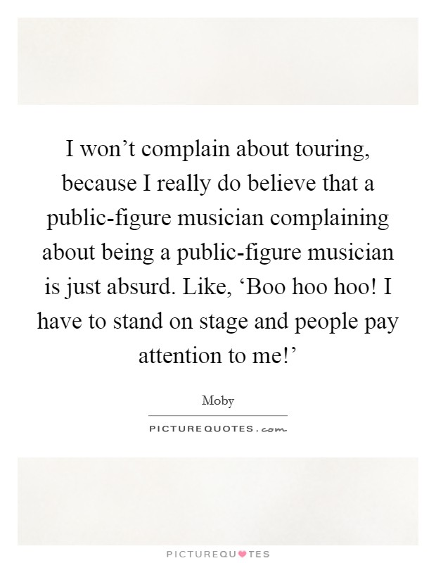 I won't complain about touring, because I really do believe that a public-figure musician complaining about being a public-figure musician is just absurd. Like, 'Boo hoo hoo! I have to stand on stage and people pay attention to me!' Picture Quote #1