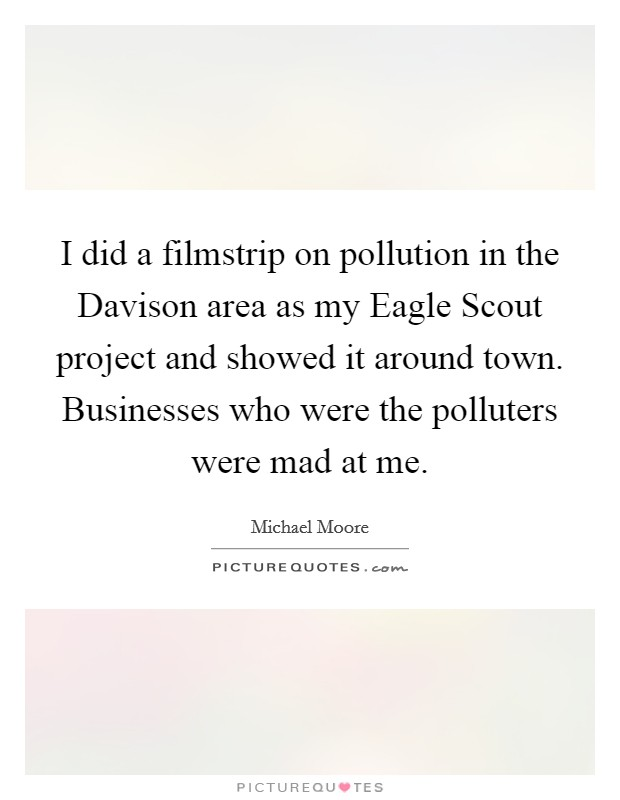 I did a filmstrip on pollution in the Davison area as my Eagle Scout project and showed it around town. Businesses who were the polluters were mad at me Picture Quote #1