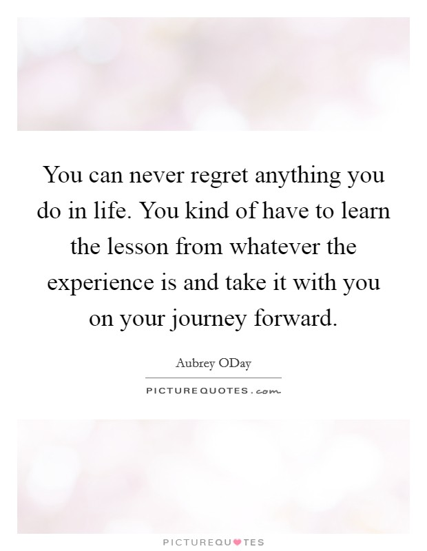 You can never regret anything you do in life. You kind of have to learn the lesson from whatever the experience is and take it with you on your journey forward Picture Quote #1