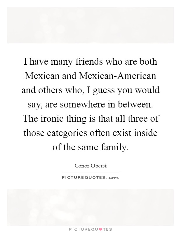 I have many friends who are both Mexican and Mexican-American and others who, I guess you would say, are somewhere in between. The ironic thing is that all three of those categories often exist inside of the same family Picture Quote #1