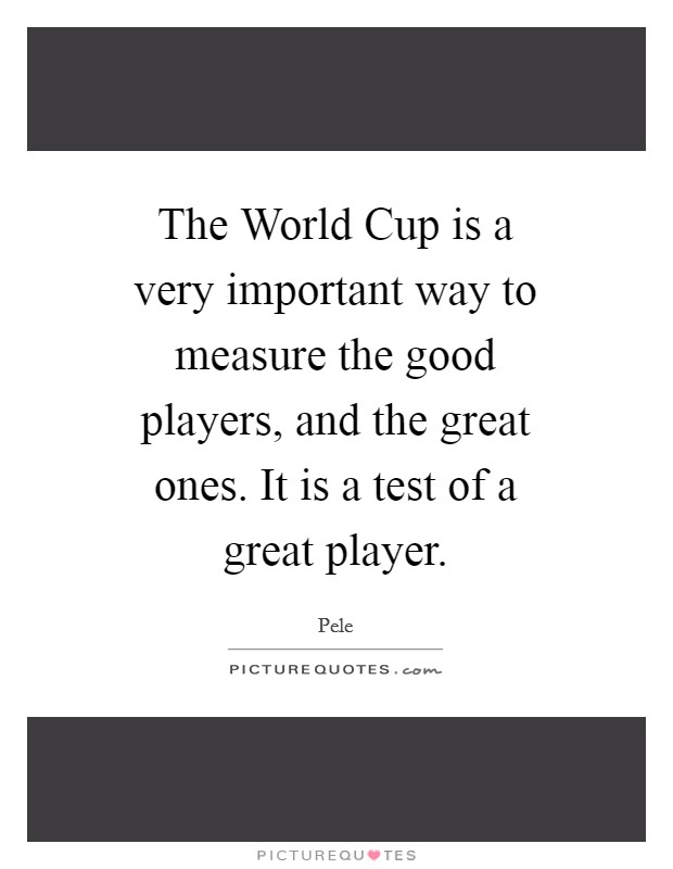 The World Cup is a very important way to measure the good players, and the great ones. It is a test of a great player Picture Quote #1
