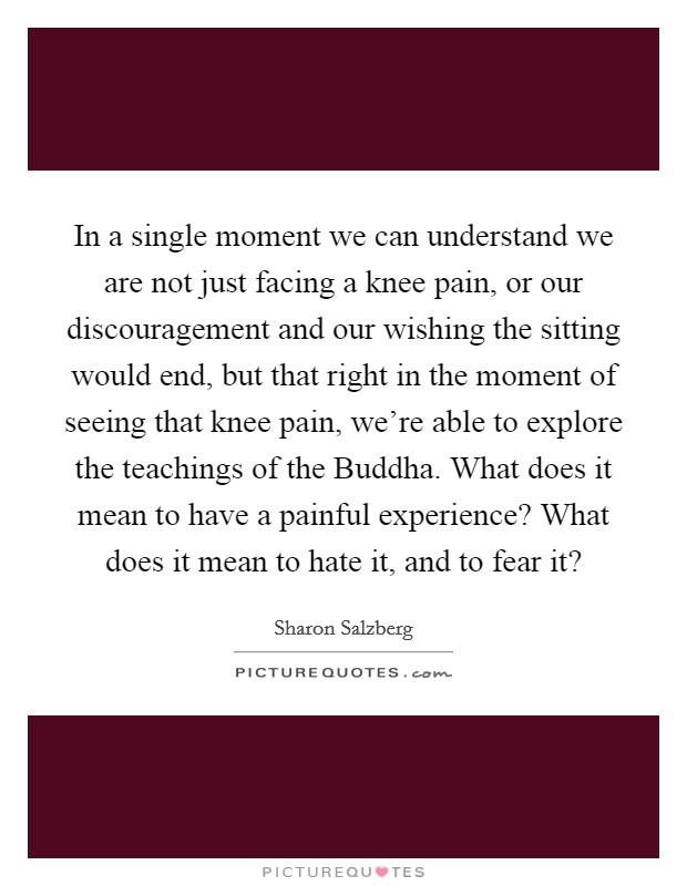 In a single moment we can understand we are not just facing a knee pain, or our discouragement and our wishing the sitting would end, but that right in the moment of seeing that knee pain, we're able to explore the teachings of the Buddha. What does it mean to have a painful experience? What does it mean to hate it, and to fear it? Picture Quote #1