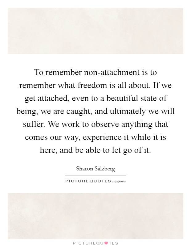 To remember non-attachment is to remember what freedom is all about. If we get attached, even to a beautiful state of being, we are caught, and ultimately we will suffer. We work to observe anything that comes our way, experience it while it is here, and be able to let go of it Picture Quote #1