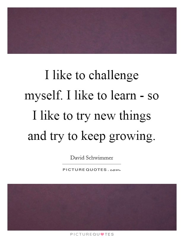 I like to challenge myself. I like to learn - so I like to try new things and try to keep growing Picture Quote #1