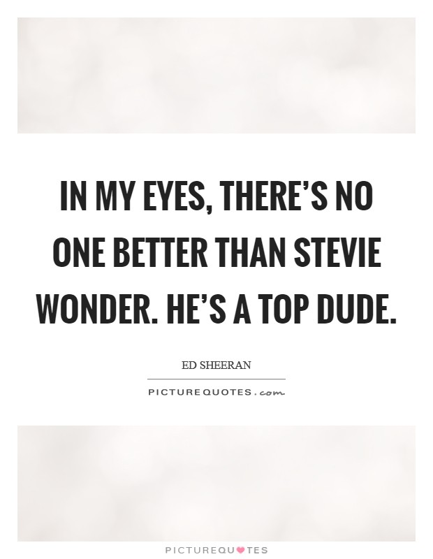 In my eyes, there's no one better than Stevie Wonder. He's a top dude Picture Quote #1