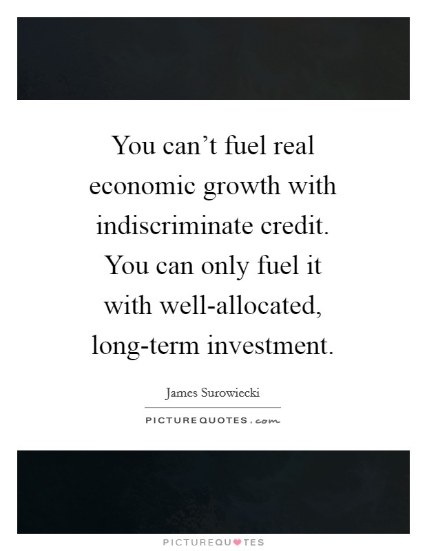 You can't fuel real economic growth with indiscriminate credit. You can only fuel it with well-allocated, long-term investment Picture Quote #1