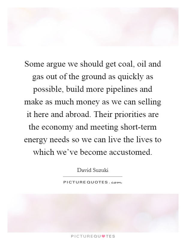 Some argue we should get coal, oil and gas out of the ground as quickly as possible, build more pipelines and make as much money as we can selling it here and abroad. Their priorities are the economy and meeting short-term energy needs so we can live the lives to which we've become accustomed Picture Quote #1