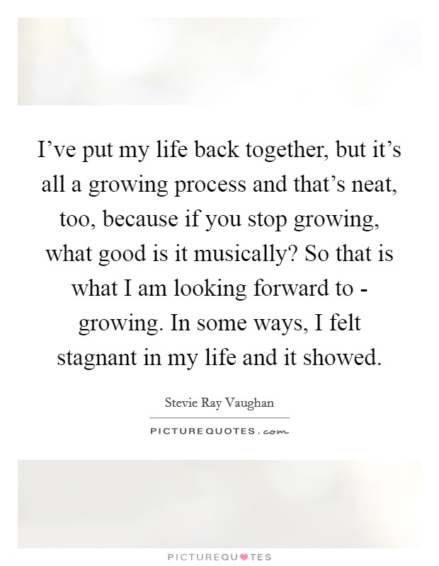 I've put my life back together, but it's all a growing process and that's neat, too, because if you stop growing, what good is it musically? So that is what I am looking forward to - growing. In some ways, I felt stagnant in my life and it showed Picture Quote #1