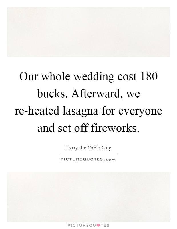 Our whole wedding cost 180 bucks. Afterward, we re-heated lasagna for everyone and set off fireworks Picture Quote #1