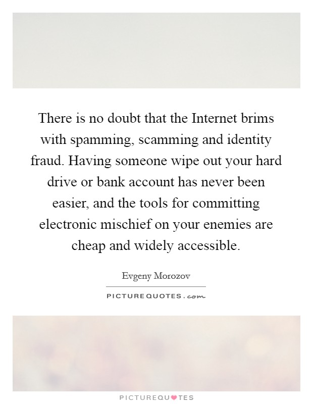 There is no doubt that the Internet brims with spamming, scamming and identity fraud. Having someone wipe out your hard drive or bank account has never been easier, and the tools for committing electronic mischief on your enemies are cheap and widely accessible Picture Quote #1