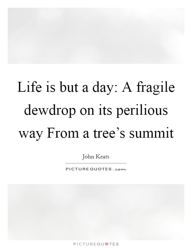 Life is but a day: A fragile dewdrop on its perilious way From a tree's summit Picture Quote #1