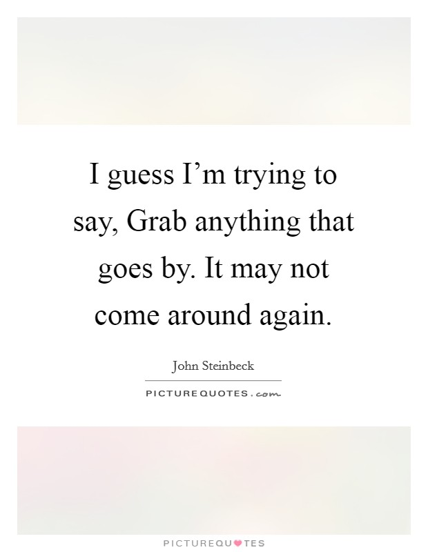 I guess I'm trying to say, Grab anything that goes by. It may not come around again Picture Quote #1
