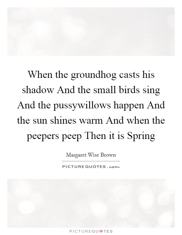 When the groundhog casts his shadow And the small birds sing And the pussywillows happen And the sun shines warm And when the peepers peep Then it is Spring Picture Quote #1