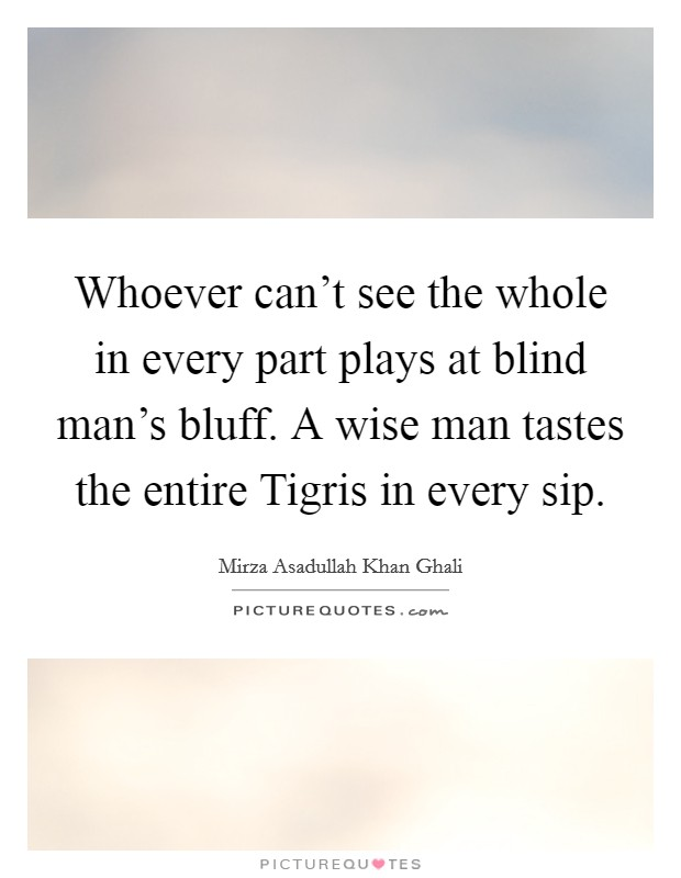 Whoever can't see the whole in every part plays at blind man's bluff. A wise man tastes the entire Tigris in every sip Picture Quote #1