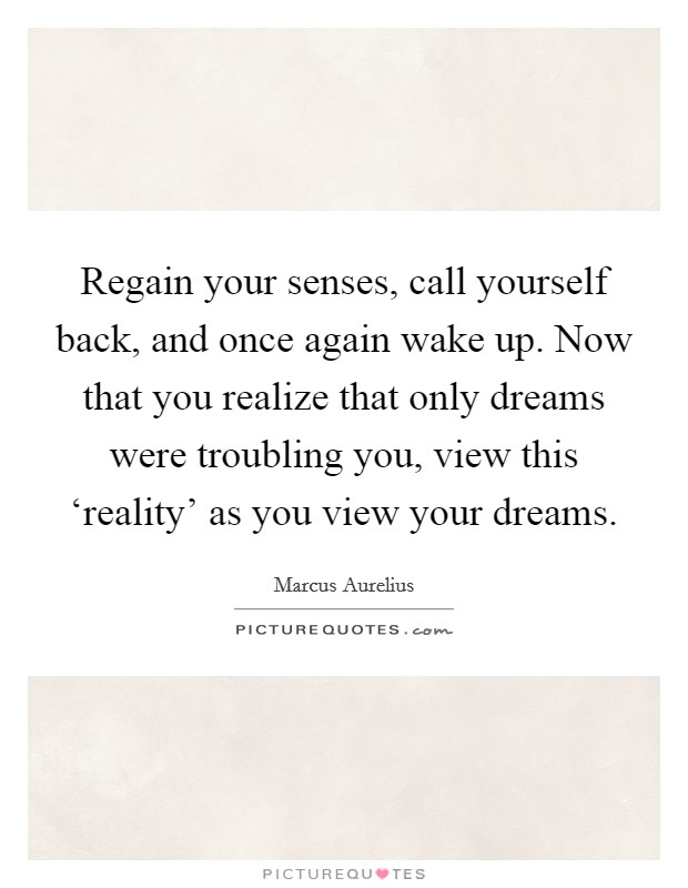 Regain your senses, call yourself back, and once again wake up. Now that you realize that only dreams were troubling you, view this 'reality' as you view your dreams Picture Quote #1