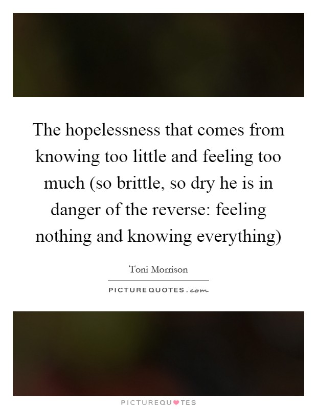 The hopelessness that comes from knowing too little and feeling too much (so brittle, so dry he is in danger of the reverse: feeling nothing and knowing everything) Picture Quote #1