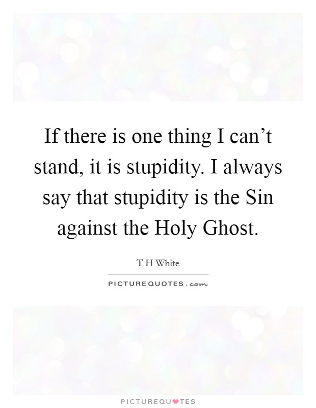 If there is one thing I can't stand, it is stupidity. I always say that stupidity is the Sin against the Holy Ghost Picture Quote #1