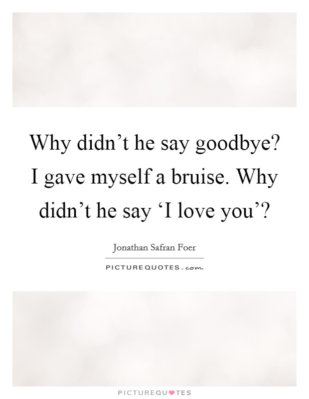 Why didn't he say goodbye? I gave myself a bruise. Why didn't he say 'I love you'? Picture Quote #1