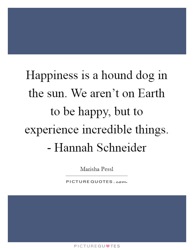 Happiness is a hound dog in the sun. We aren't on Earth to be happy, but to experience incredible things. - Hannah Schneider Picture Quote #1
