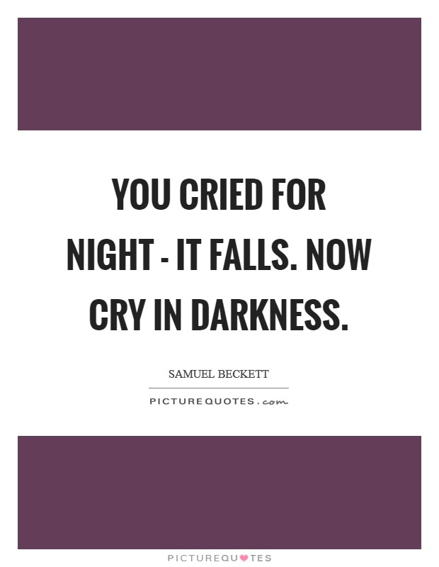 You cried for night - it falls. Now cry in darkness Picture Quote #1
