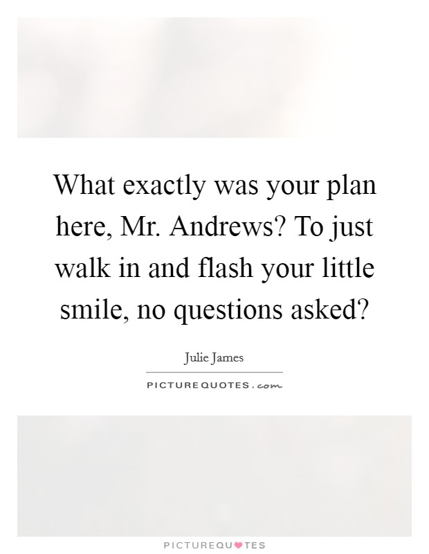What exactly was your plan here, Mr. Andrews? To just walk in and flash your little smile, no questions asked? Picture Quote #1