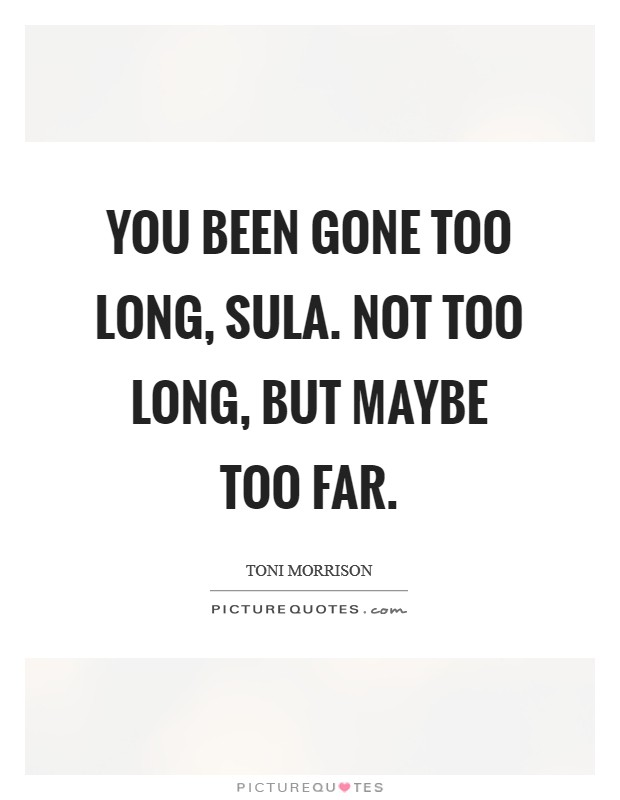 You been gone too long, Sula. Not too long, but maybe too far Picture Quote #1