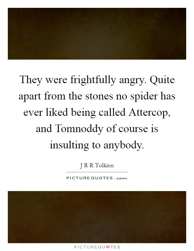 They were frightfully angry. Quite apart from the stones no spider has ever liked being called Attercop, and Tomnoddy of course is insulting to anybody Picture Quote #1