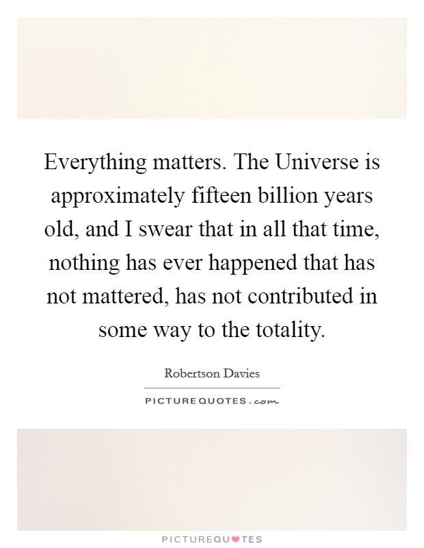 Everything matters. The Universe is approximately fifteen billion years old, and I swear that in all that time, nothing has ever happened that has not mattered, has not contributed in some way to the totality Picture Quote #1