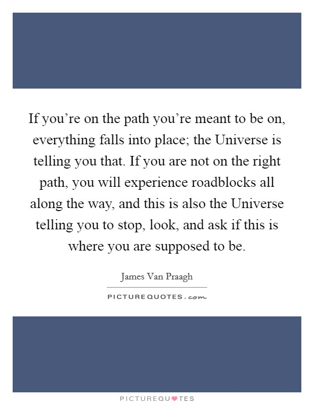 If you're on the path you're meant to be on, everything falls into place; the Universe is telling you that. If you are not on the right path, you will experience roadblocks all along the way, and this is also the Universe telling you to stop, look, and ask if this is where you are supposed to be Picture Quote #1