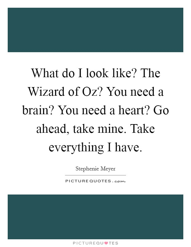 What do I look like? The Wizard of Oz? You need a brain? You need a heart? Go ahead, take mine. Take everything I have Picture Quote #1