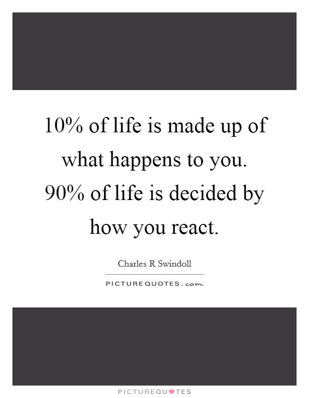 10% of life is made up of what happens to you. 90% of life is decided by how you react Picture Quote #1