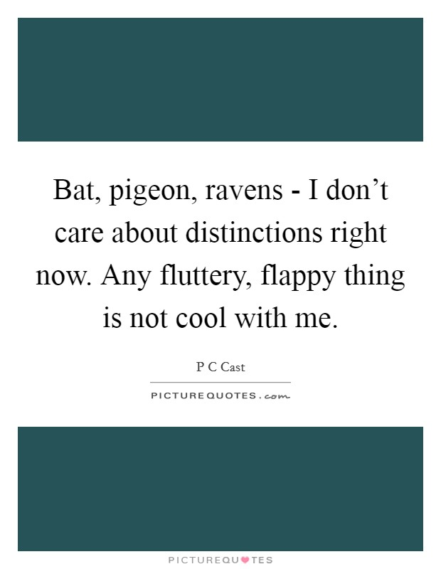 Bat, pigeon, ravens - I don't care about distinctions right now. Any fluttery, flappy thing is not cool with me Picture Quote #1