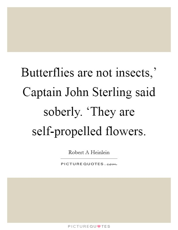 Butterflies are not insects,' Captain John Sterling said soberly. 'They are self-propelled flowers Picture Quote #1